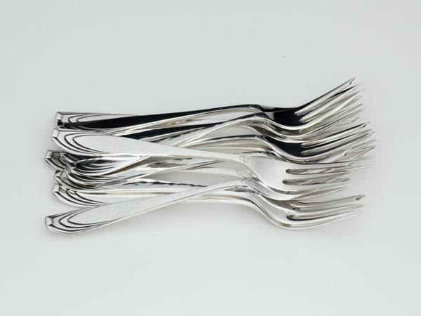 12 zilveren gebaksvorken model 202 n.o.v. H.J. Valk 1925-1953-0